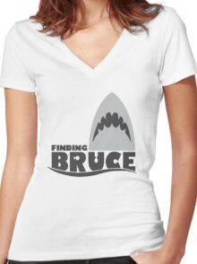 Finding Bruce (Finding Dory inspired horror) Women's Fitted V-Neck T-Shirt