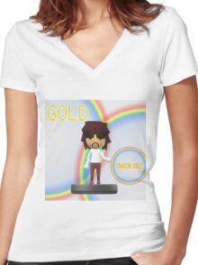 Tanuchi Gold Amiibo Women's Fitted V-Neck T-Shirt