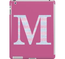 Letter M Blue And Pink Dots And Dashes Monogram Initial iPad Case/Skin