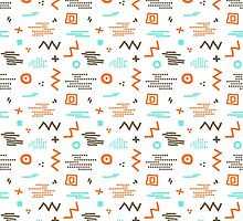 Modern hand draw colorful abstract seamless pattern with geometrical shapes Vector illustration. by OlgaBerlet