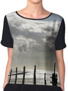 Rain Clouds at Sunset on the Beach Chiffon Top