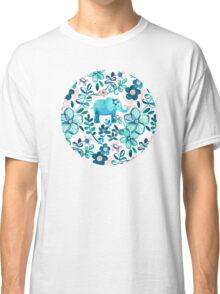 Dusty Pink, White and Teal Elephant and Floral Watercolor Pattern Classic T-Shirt