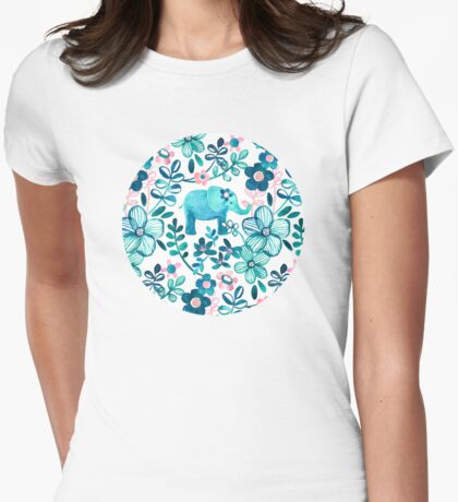 Dusty Pink, White and Teal Elephant and Floral Watercolor Pattern Womens Fitted T-Shirt