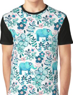 Dusty Pink, White and Teal Elephant and Floral Watercolor Pattern Graphic T-Shirt