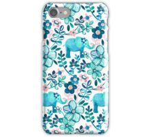Dusty Pink, White and Teal Elephant and Floral Watercolor Pattern iPhone Case/Skin