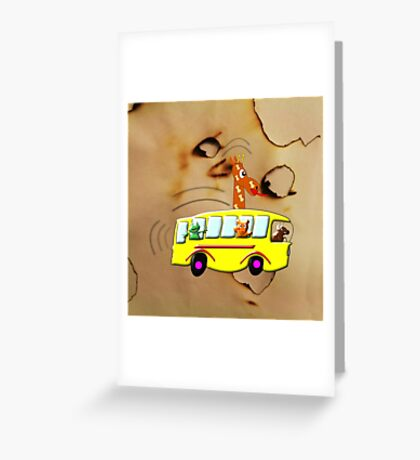 Yellow School Bus - pillow & tote design Greeting Card