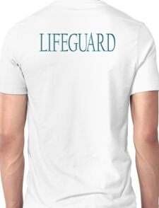 LIFEGUARD,  Swim, Swimmer, Emergency, Rescue, Life Saver,on BLUE, TURQUOISE Unisex T-Shirt