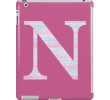 Letter N Blue And Pink Dots And Dashes Monogram Initial iPad Case/Skin
