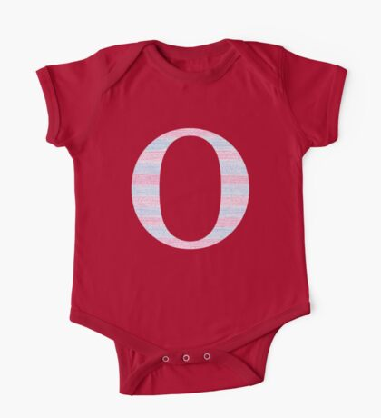 Letter O Blue And Pink Dots And Dashes Monogram Initial One Piece - Short Sleeve