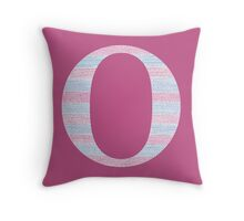 Letter O Blue And Pink Dots And Dashes Monogram Initial Throw Pillow