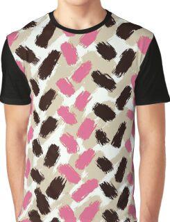 Strawbery Mocha Herringbone Brushstrokes Graphic T-Shirt