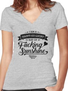 I am a Happy-Go-Lucky Ray of Fucking Sunshine in Yellow Women's Fitted V-Neck T-Shirt