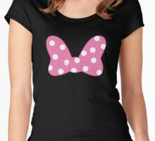 Polka Dot Bow - Pink Women's Fitted Scoop T-Shirt