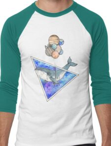 Whale with balloons in the sky Men's Baseball ¾ T-Shirt