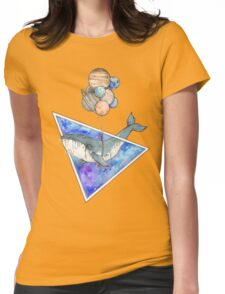 Whale with balloons in the sky Womens Fitted T-Shirt