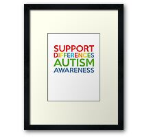 Support Differences Autism Awareness Framed Print