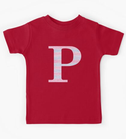 Letter P Blue And Pink Dots And Dashes Monogram Initial Kids Tee