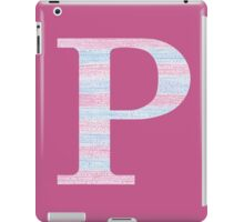 Letter P Blue And Pink Dots And Dashes Monogram Initial iPad Case/Skin