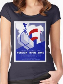 Retro vintage style New York Port Harbor Foreign Trade Zone Women's Fitted Scoop T-Shirt