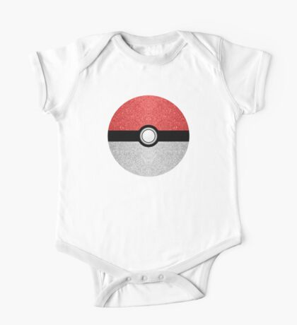Sparkly red and silver sparkles poke ball One Piece - Short Sleeve