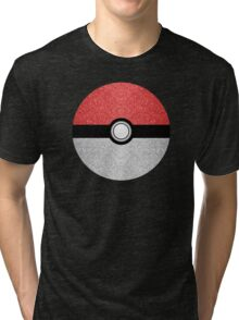 Sparkly red and silver sparkles poke ball Tri-blend T-Shirt