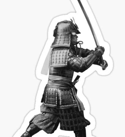 Samurai Brandishing His Sword - Japanese History Sticker