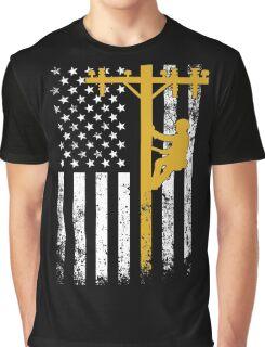 Gift For Lineman - Lineman with American Flag Shirt Graphic T-Shirt