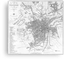 Vintage Map of Sheffield England (1823) Canvas Print