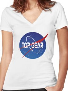 Top Gear 'NASA' logo Women's Fitted V-Neck T-Shirt