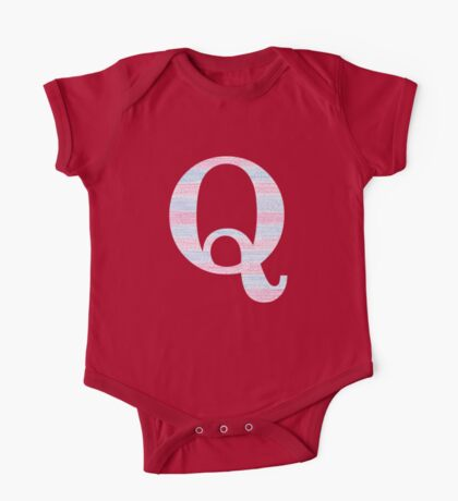 Letter Q Blue And Pink Dots And Dashes Monogram Initial One Piece - Short Sleeve