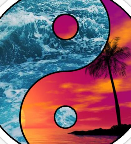 yin yang beach Sticker