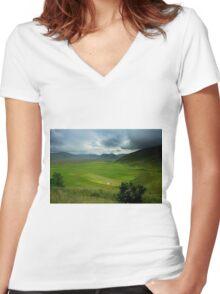 Thunder on the Pian Grande Women's Fitted V-Neck T-Shirt