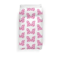 Polka Dot Bow - Pink Duvet Cover