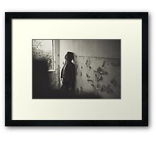 a lonely woman  and sad Framed Print