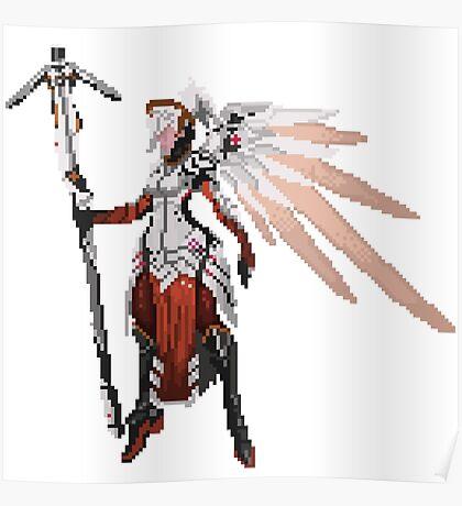 Dark Red Mercy pixel Poster