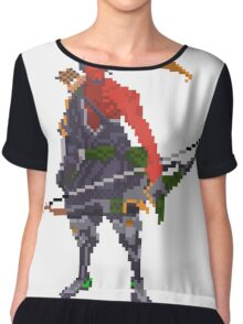 Red Hanzo Pixel Chiffon Top
