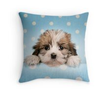 Cute puppy peeking from blue spotted background Throw Pillow