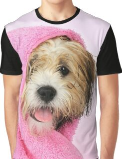 Cute Teddy Bear dog wrapped in a pink towel Graphic T-Shirt