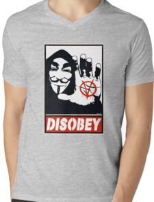 DISOBEY (Anonymous) Mens V-Neck T-Shirt