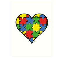 Autism Awareness Heart Art Print