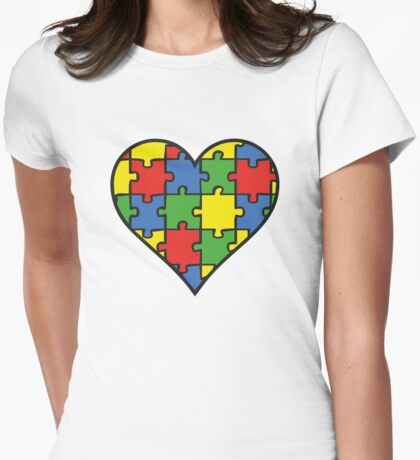 Autism Awareness Heart Womens Fitted T-Shirt
