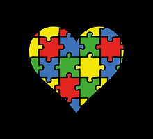 Autism Awareness Heart by DesignFactoryD