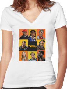 -TARANTINO- Jackie Brown Cartoon Women's Fitted V-Neck T-Shirt