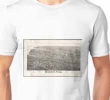 Vintage Pictorial Map of Stamford CT (1883) Unisex T-Shirt