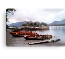 Boats at Keswick Jetty Metal Print