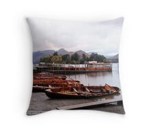 Boats at Keswick Jetty Throw Pillow