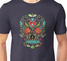 Colorful Floral Sugar Skull Glitter And Gold 2 Unisex T-Shirt
