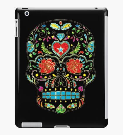 Colorful Floral Sugar Skull Glitter And Gold 2 iPad Case/Skin