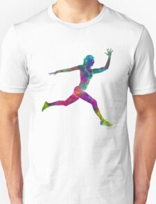 Woman runner running jumping Unisex T-Shirt