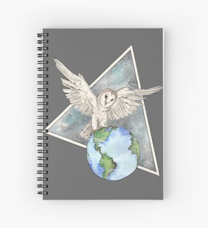 Owl with Earth  Spiral Notebook